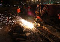 Трамвайные пути в Смоленске приводят в порядок по ночам
