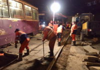 В Смоленске ремонтируют трамвайные пути на улице Николаева