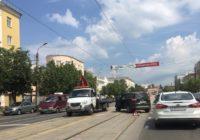 Центр Смленска остался без трамваев из-за ДТП на рельсах