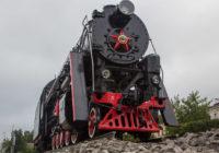 Памятник-паровоз установлен на Витебском шоссе