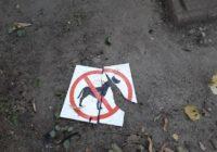 В парке Блонье уничтожены таблички, запрещающие выгул собак
