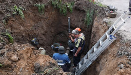 На улице Ломоносова ликвидируют последствия крупной аварии на газопроводе
