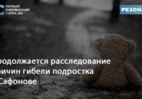 Продолжается расследование причин гибели подростка в Сафонове