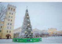На главной площади города закончили установку новогодней ёлки